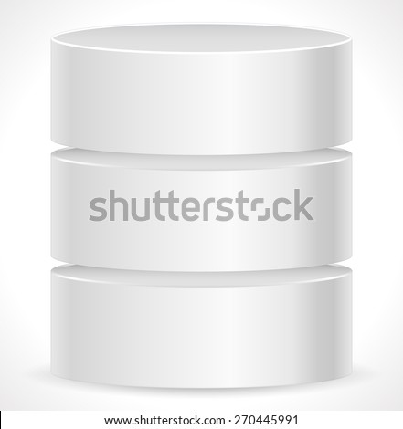 Metal Cylinder. Webhosting, Server, Mainframe Computer Concepts. Archive, Database, Hard Disk Drive, HDD Vector Icon - stock vector
