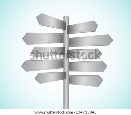 Metal directional signs vector illustration - stock vector