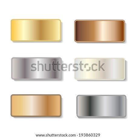Metal door plaques in gold, silver, brass, copper, white gold and steel with copy space on white background, vector illustration - stock vector
