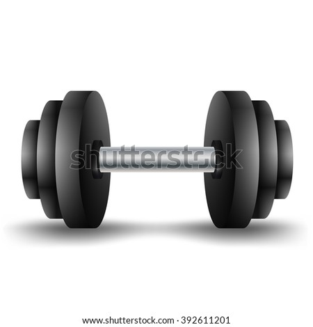 Metal dumbbell - isolated on white. Vector EPS10.