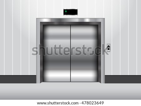Metal elevator with closed door vector illustration