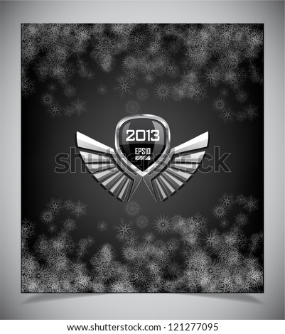 Metal emblem with wings on dark background - stock vector