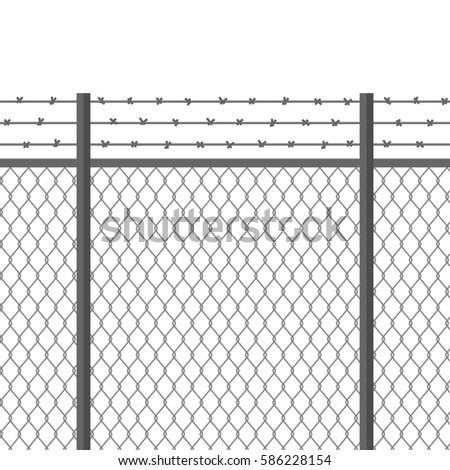 Metal Fence Barbed Wire Fortification Secured Stock Vector HD ...