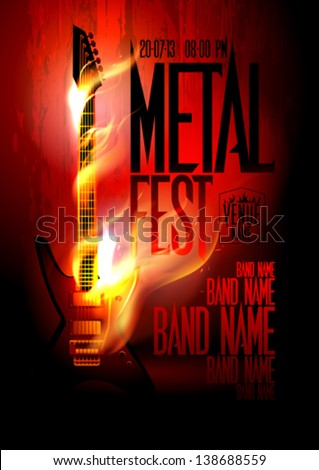 Metal fest design template with guitar in flames and place for text. Eps10 - stock vector