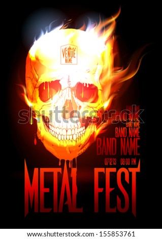 Metal fest design template with skull in flames and place for text. Eps10 - stock vector