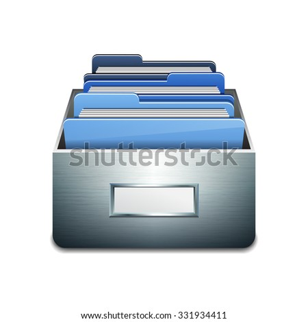 Metal filling cabinet with blue folders. Illustrated concept of database organizing and maintaining. Vector illustration isolated on white background - stock vector