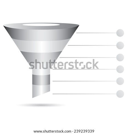 metal filter diagram, funnel diagram, marketing and sale concept - stock vector