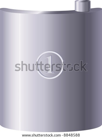 Metal flask. A vector illustration. - stock vector