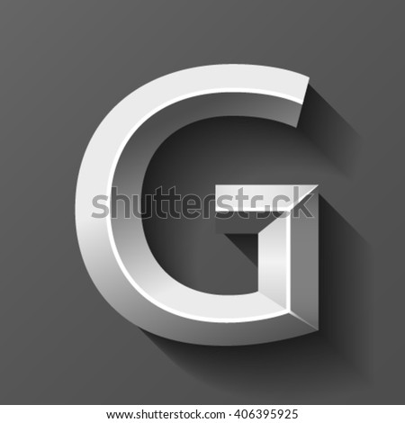 Metal font with bevel, letter G vector - stock vector