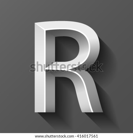 Metal font with bevel, letter R vector - stock vector