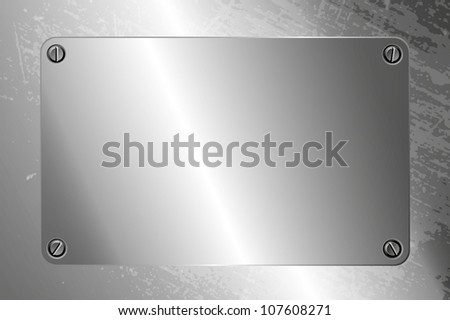 Metal frame with four screw. EPS10 Vector. - stock vector