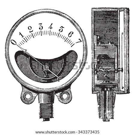 Metal gauge, Ducomet system, Front and cut, vintage engraved illustration. Industrial encyclopedia E.-O. Lami - 1875.