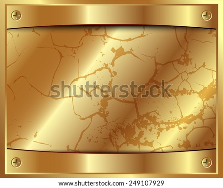 Metal gold frame with screws and space for your design - stock vector
