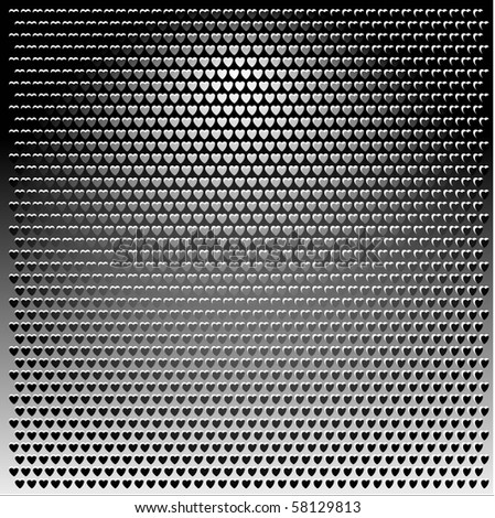 Metal Grill grey heart texture background illustration vector