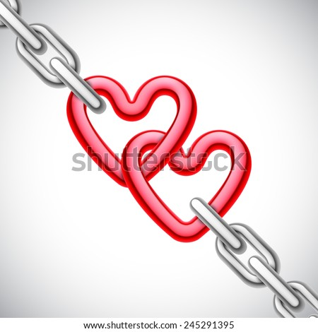 Metal heart shaped chain on white background