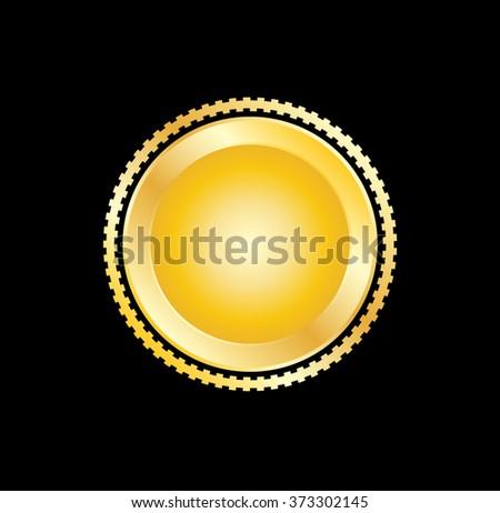 Metal label Gold. Badge Retro  - stock vector