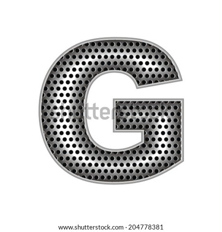 metal letter G - stock vector