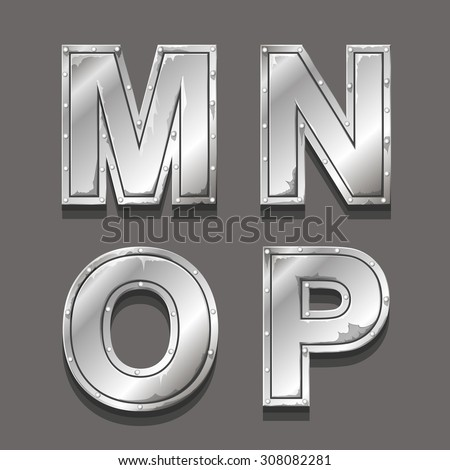 Metal letters and symbols M N O P - stock vector