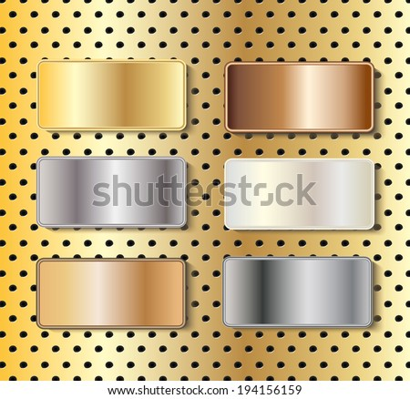 Metal name-boards in gold, silver, brass, copper, white gold and steel with copy space on tech background, vector illustration - stock vector