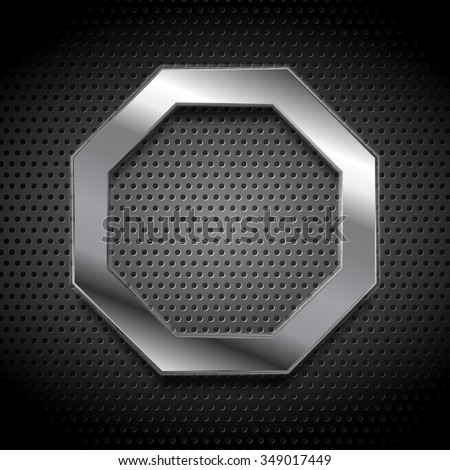 Metal octagon logo on perforated background. Vector design - stock vector