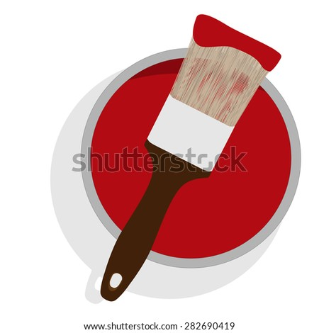 Metal paint can with red paint and paintbrush with wooden handle up view vector illustration