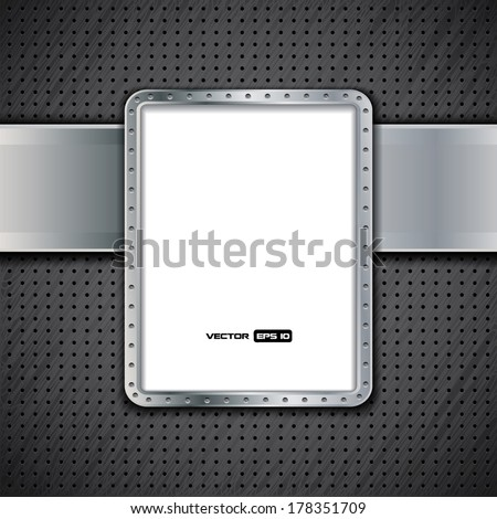 Metal panel - empty billboard with metal frame and dark background - stock vector