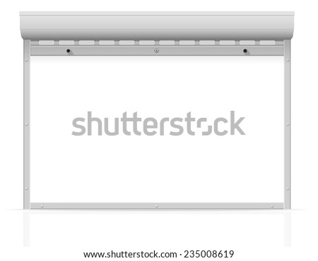 metal perforated rolling shutters vector illustration isolated on white background - stock vector