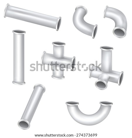 Metal Pipes - stock vector