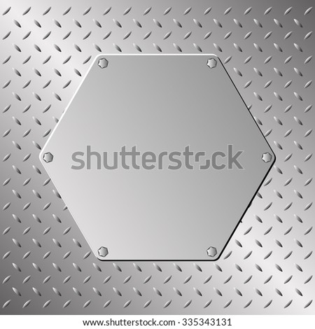 metal plaque on steel sheet - stock vector