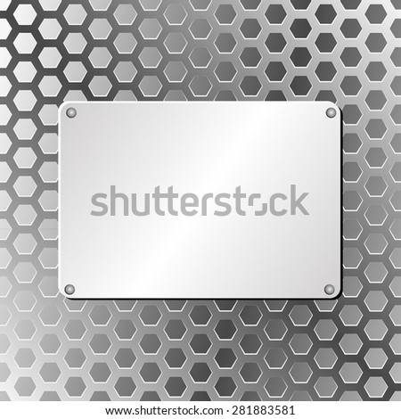 metal plaque on truss background - stock vector