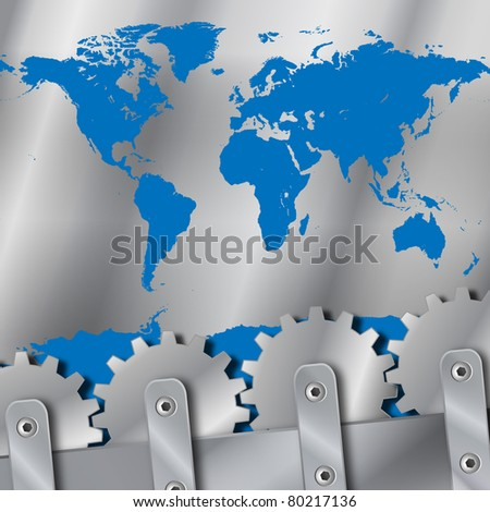 Metal plate and gears world map vector - stock vector