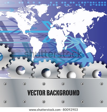 Metal plate and gears world map with arrows vector - stock vector
