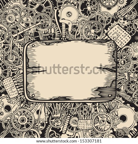 Metal plate on abstract machine background. - stock vector