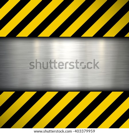 Metal plate on warning stripes background, vector illustration.