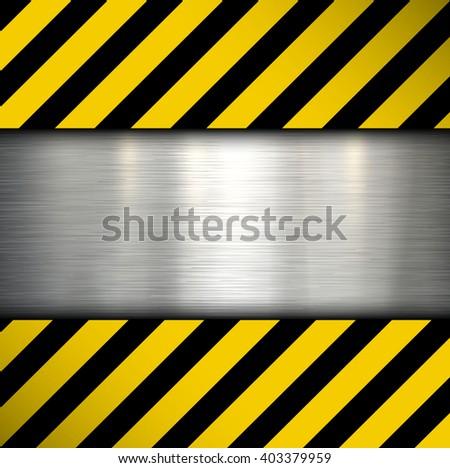 Metal plate on warning stripes background, vector illustration. - stock vector