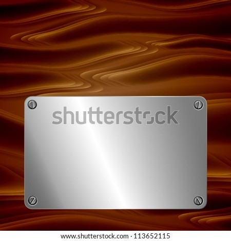 Metal plate on wooden surface. EPS10 vector. - stock vector