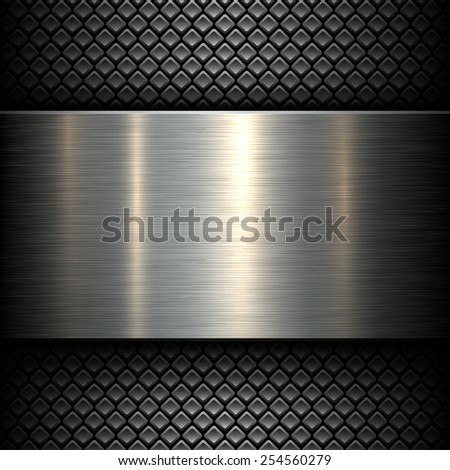 Metal plate texture on dark pattern background, vector illustration. - stock vector