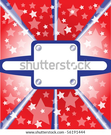 metal plate with stars in red, white and blue