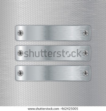 Metal plates screwed to perforated background. Vector illustration