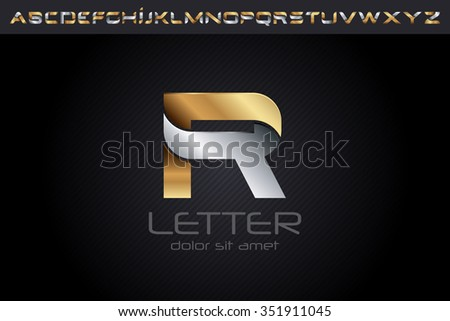 Metal R Letter Logo, alphabet logo design. - stock vector