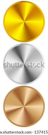 metal rings gold silver and bronze - stock vector