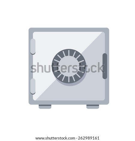 Metal safe deposit. Isolated icon pictogram. Eps 10 vector illustration.
