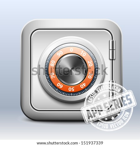 Metal safe icon with combination lock on white background, app series - stock vector