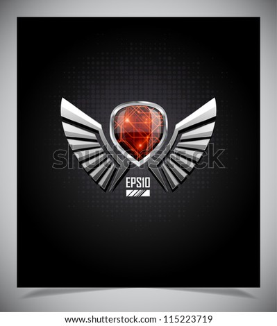 Metal Shield emblem with wings. Vector illustration. - stock vector