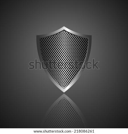 Metal shield icon. Vector - stock vector