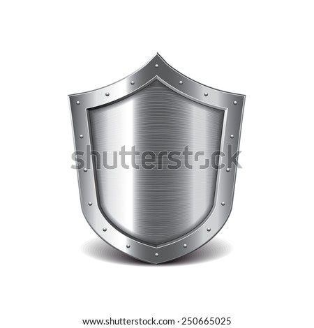 Metal shield isolated on white photo-realistic vector illustration - stock vector