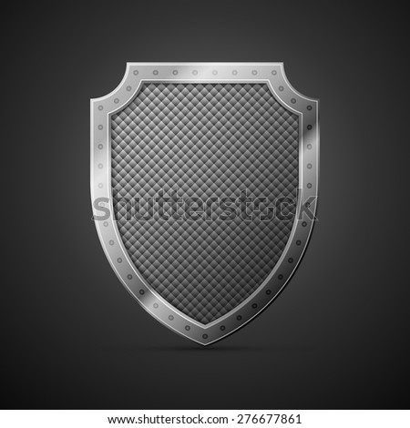 metal shield on a black background, excellent vector illustration, EPS 10 - stock vector