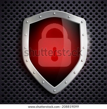 metal shield with a red lock - stock vector