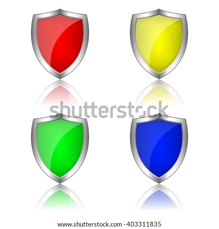 Metal shields, Colored shields. Shields icons. Shields on a white background. Vector illustration. - stock vector