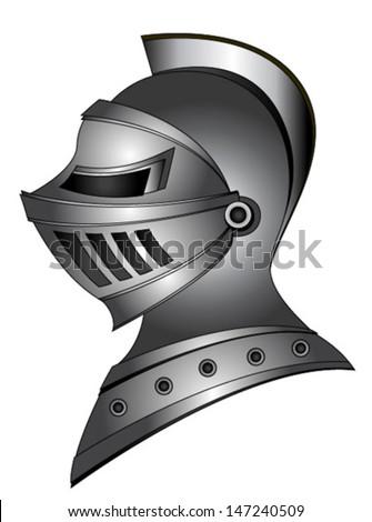 metal silver medieval helmet - stock vector